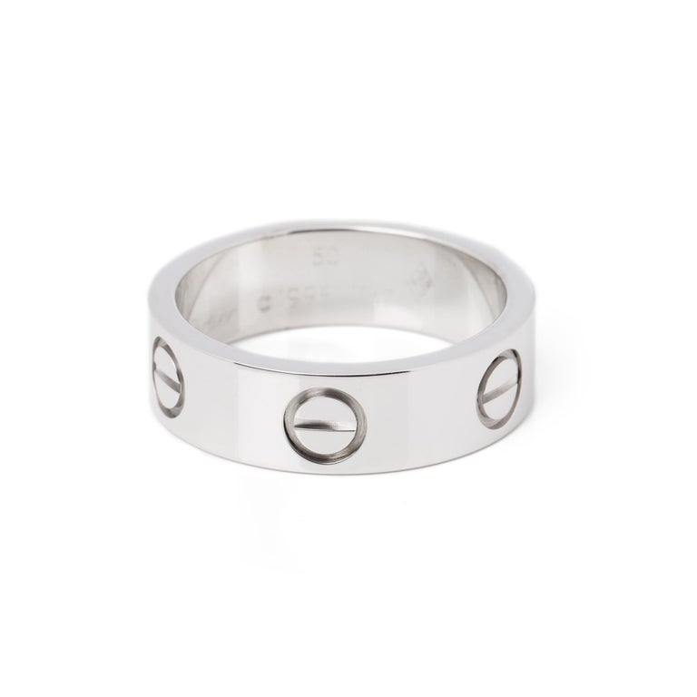 Women's or Men's Cartier Love 18ct White Gold Band Ring  For Sale