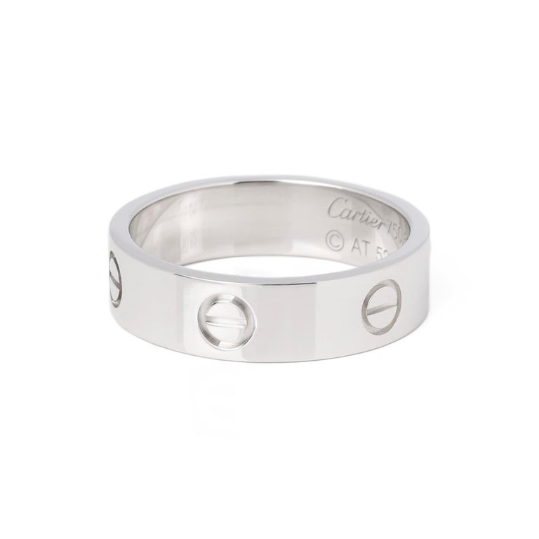 Women's or Men's Cartier Love 18ct White Gold Band Ring
