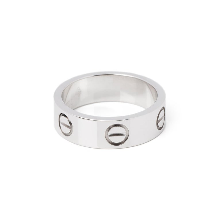 Cartier Love 18ct White Gold Band Ring  For Sale 1