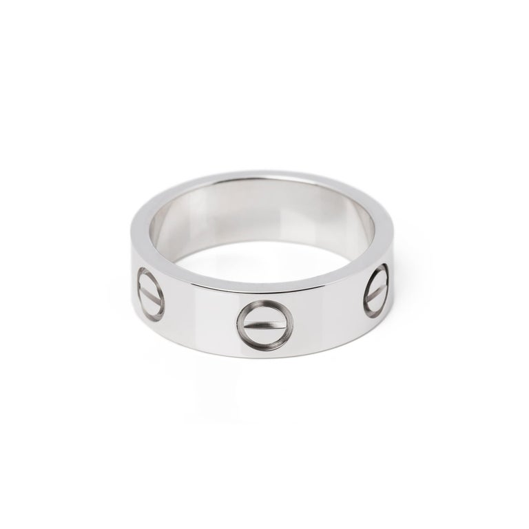 Cartier Love 18ct White Gold Band Ring  For Sale 2