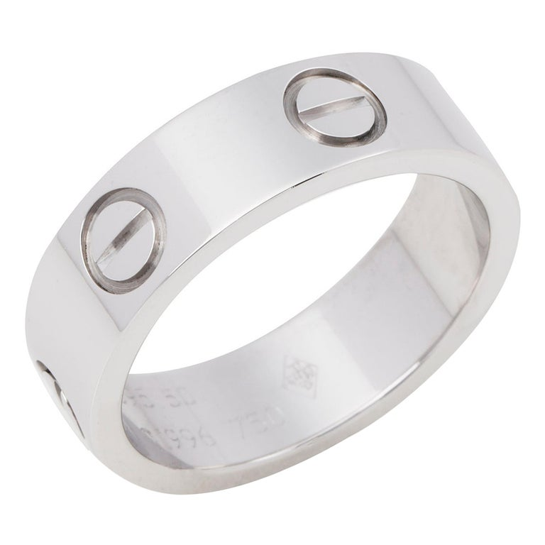 Cartier Love 18ct White Gold Band Ring  For Sale