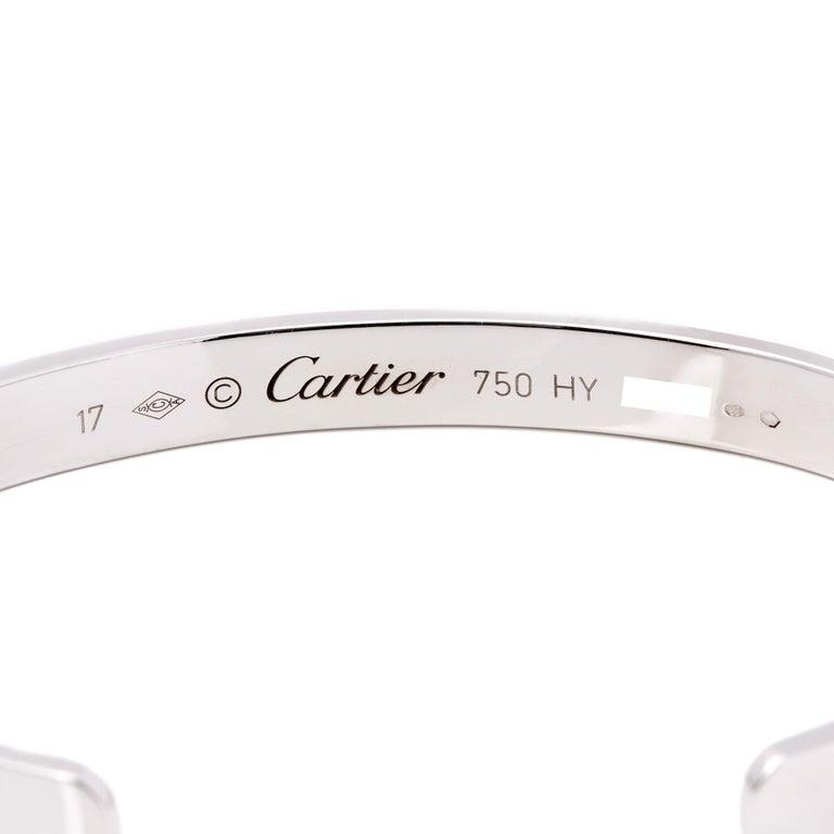 Cartier Love 18 Carat White Gold Cuff Bangle In Excellent Condition For Sale In Bishop's Stortford, Hertfordshire