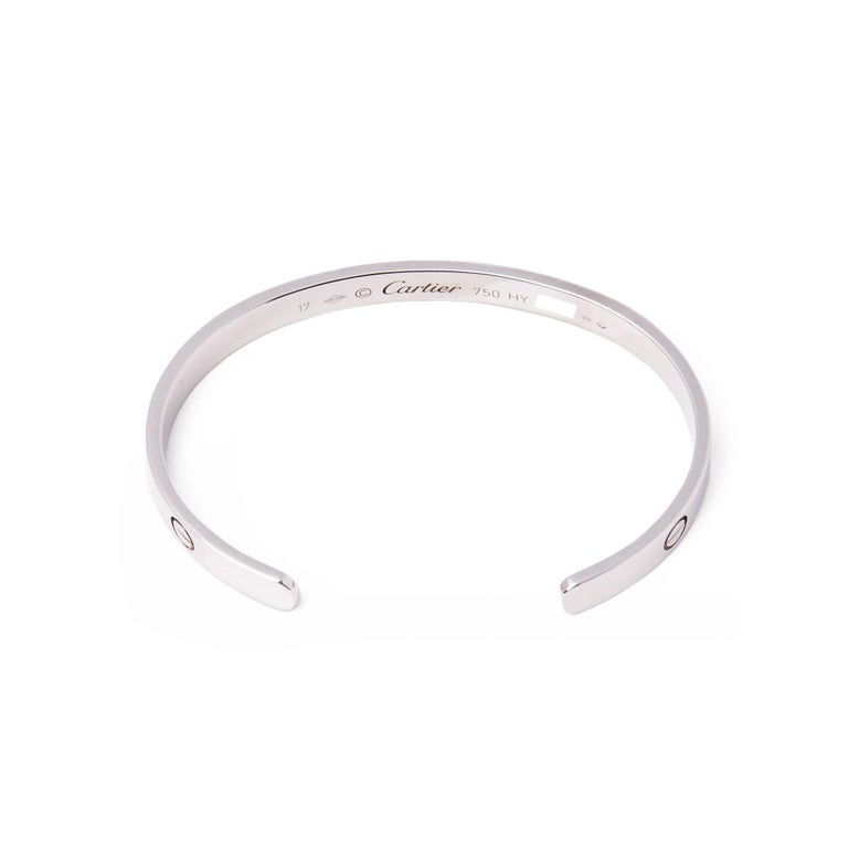 Women's or Men's Cartier Love 18 Carat White Gold Cuff Bangle For Sale