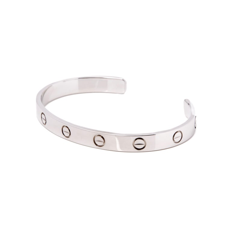 Women's or Men's Cartier Love 18 Carat White Gold Cuff Bangle