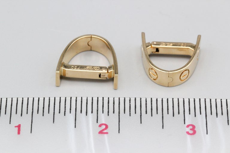 Cartier Love 18k Gold Cufflinks In Excellent Condition For Sale In New York, NY