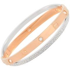 Cartier LOVE 18K Rose and White Gold 1.47 Carat Diamond Pave Bangle Bracelet