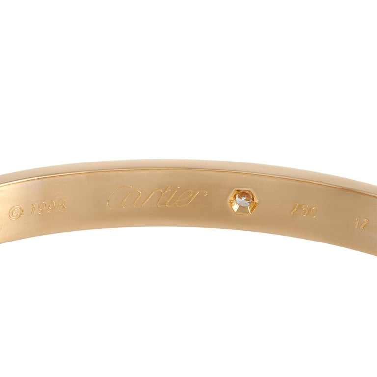 Cartier Love 18k Rose Gold 6 Diamond Bracelet In Excellent Condition For Sale In Southampton, PA