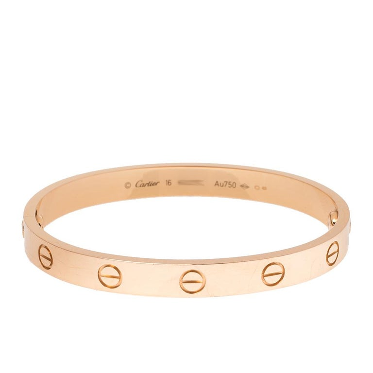 We fell in love with this Cartier LOVE bracelet at first glance. Look at its gorgeous yet subtle accents and picture how it will beautifully sit on your wrist and charm your peers. The creation is crafted from 18k rose gold and neatly detailed with