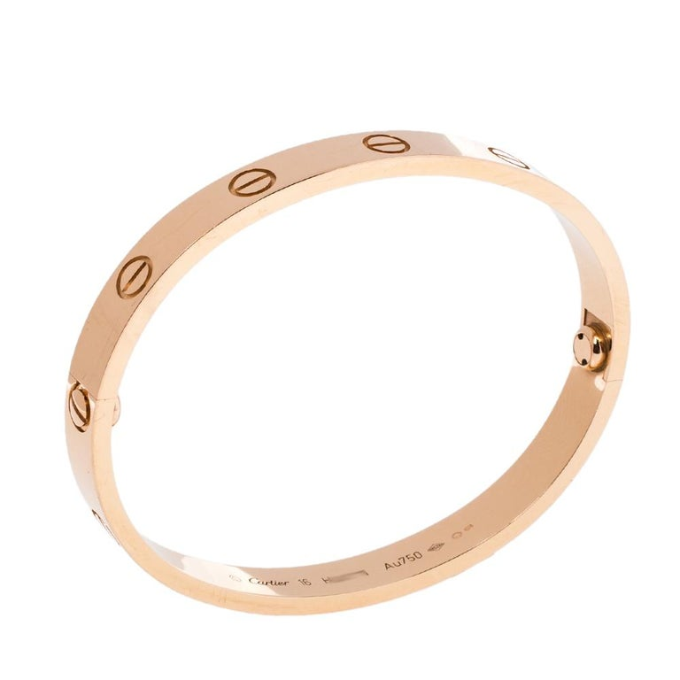 Cartier LOVE 18K Rose Gold Bracelet 16 In Good Condition In Dubai, Al Qouz 2