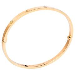 Cartier LOVE 18K Rose Gold Narrow Bangle Bracelet Size 19