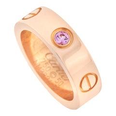 Cartier Love 18k Rose Gold Pink Sapphire Ring