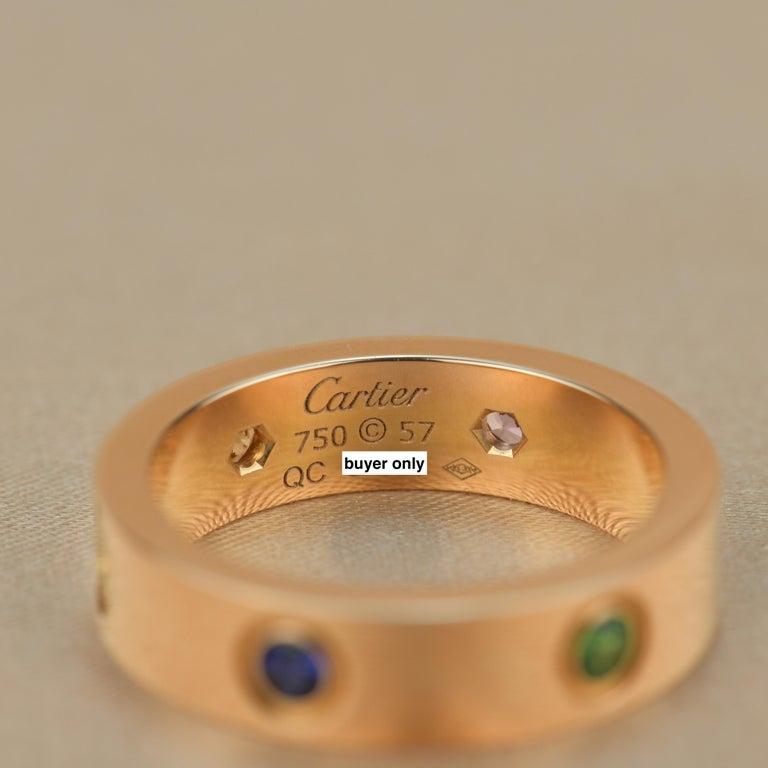 Cartier Love 18K Rose Gold Rose Multi Gem Ring For Sale 6