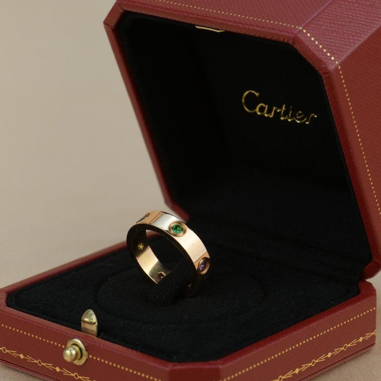 Brilliant Cut Cartier Love 18K Rose Gold Rose Multi Gem Ring For Sale