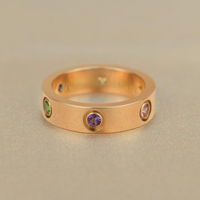 Women's or Men's Cartier Love 18K Rose Gold Rose Multi Gem Ring For Sale