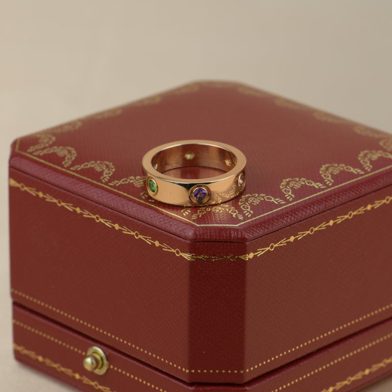 Cartier Love 18K Rose Gold Rose Multi Gem Ring For Sale 1
