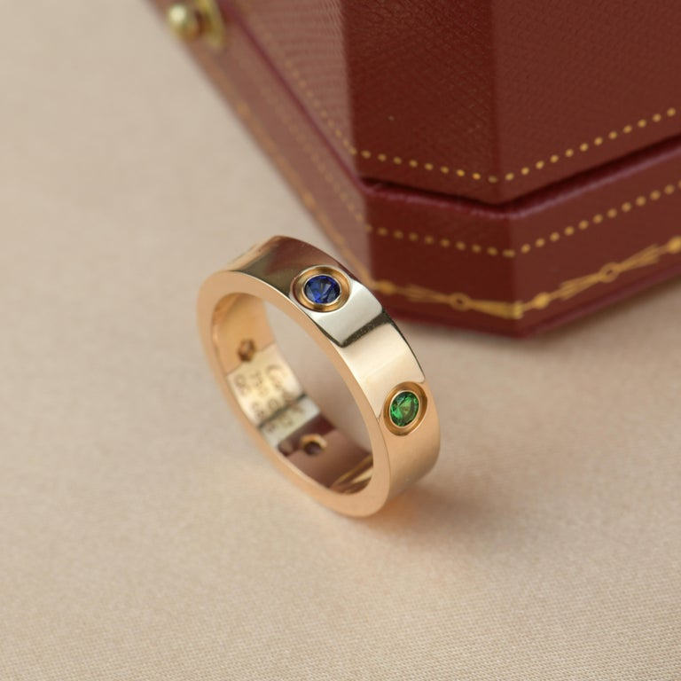 Cartier Love 18K Rose Gold Rose Multi Gem Ring For Sale 2