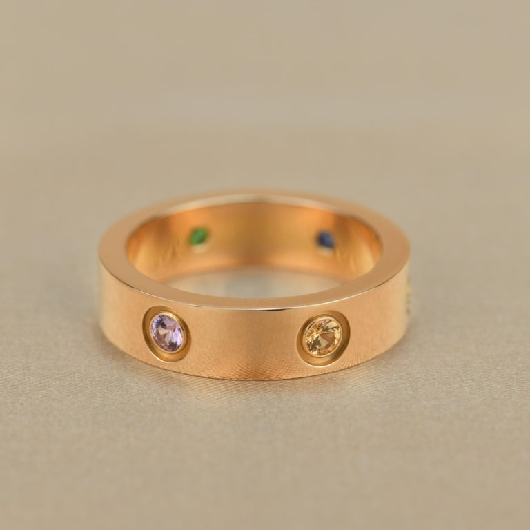 Cartier Love 18K Rose Gold Rose Multi Gem Ring For Sale 3