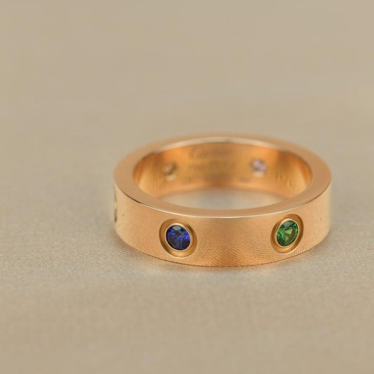 Cartier Love 18K Rose Gold Rose Multi Gem Ring For Sale 4