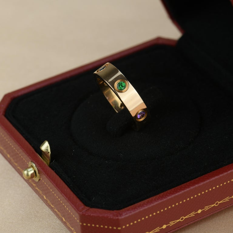 Cartier Love 18K Rose Gold Rose Multi Gem Ring For Sale 5