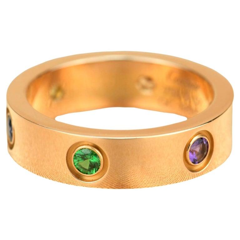 Cartier Love 18K Rose Gold Rose Multi Gem Ring For Sale