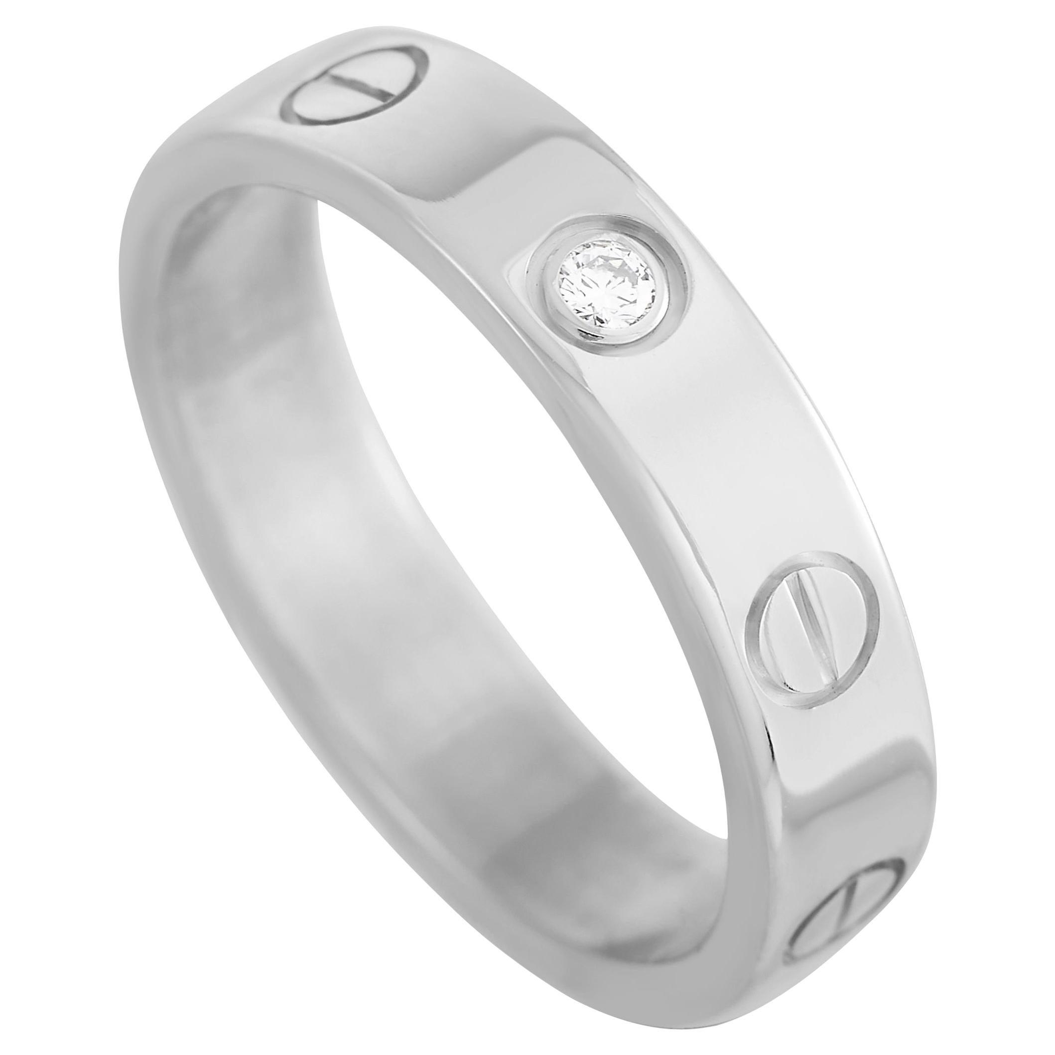 Cartier LOVE 18K White Gold 1 Diamond Band Ring