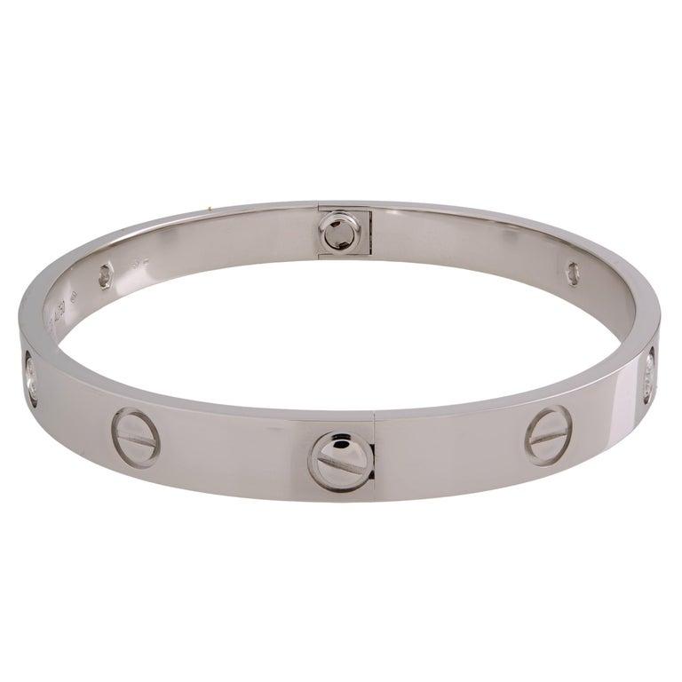 Round Cut Cartier Love 18 Karat White Gold 4-Diamond Bracelet For Sale