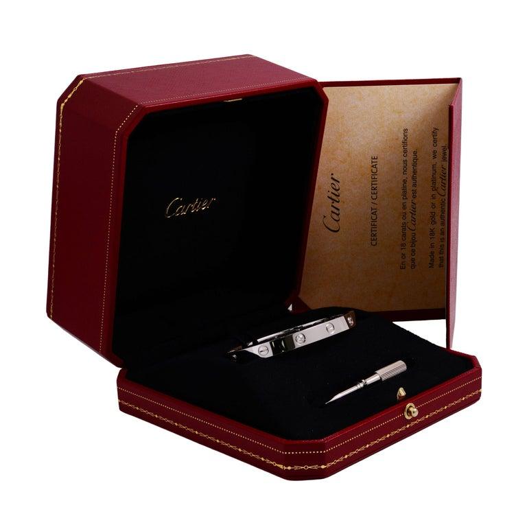 Women's or Men's Cartier Love 18 Karat White Gold 4-Diamond Bracelet For Sale