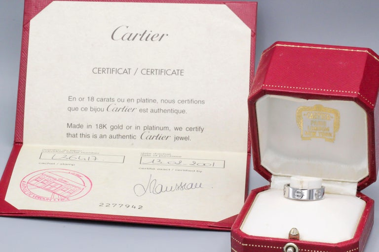 Cartier Love 18 Karat White Gold Band Ring For Sale 1
