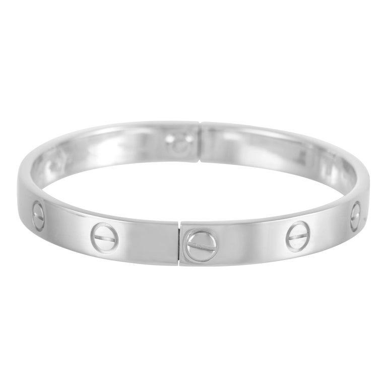 Cartier LOVE 18k White Gold Bracelet In Excellent Condition For Sale In Southampton, PA