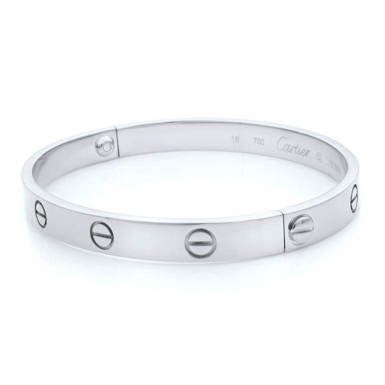 Modern Cartier Love 18 Karat White Gold Bracelet For Sale