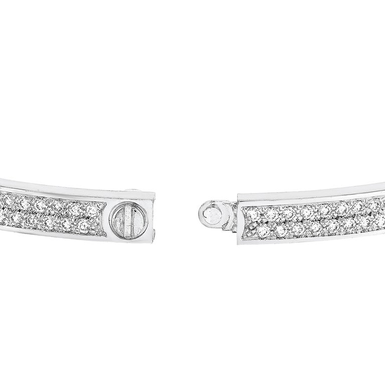 Cartier LOVE 18 Karat White Gold Diamond Bracelet In Excellent Condition For Sale In Southampton, PA