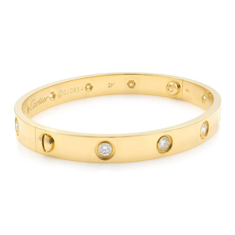 Modern Cartier Love 18 Karat Yellow Gold 10 Diamonds Bracelet For Sale