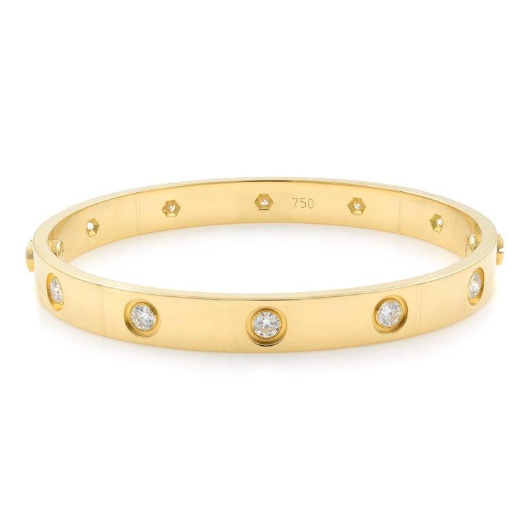 Round Cut Cartier Love 18 Karat Yellow Gold 10 Diamonds Bracelet For Sale