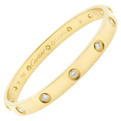 Cartier Love 18 Karat Yellow Gold 10 Diamonds Bracelet