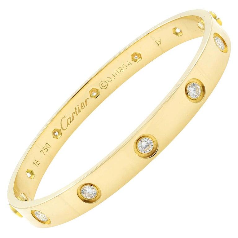 Cartier Love 18 Karat Yellow Gold 10 Diamonds Bracelet For Sale