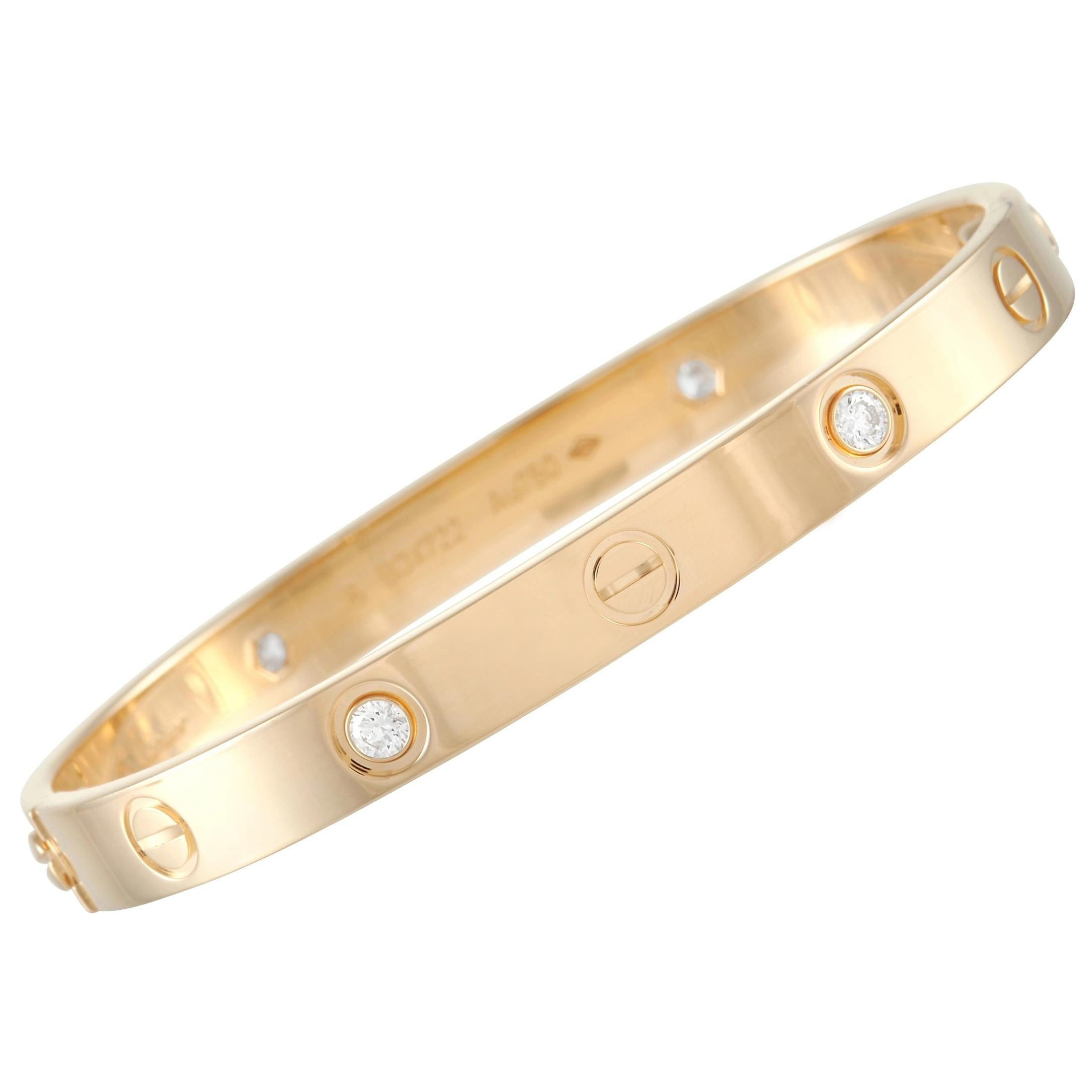 Cartier Love 18K Yellow Gold 4 Diamond Bracelet