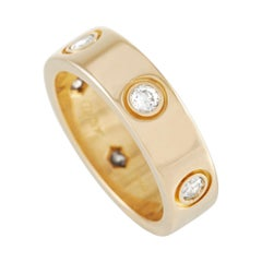 Cartier LOVE 18k Yellow Gold 6 Diamond Band Ring
