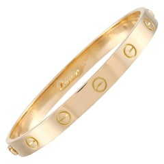 Cartier LOVE 18k Yellow Gold Bangle Bracelet with Screwdriver