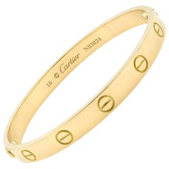 Cartier Love 18 Karat Yellow Gold Bracelet