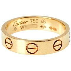 Cartier Love 18K Yellow Gold Narrow Wedding Band Ring Size 46