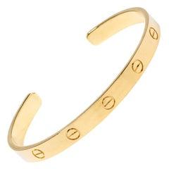 Cartier LOVE 18K Yellow Gold Open Cuff Bracelet 18