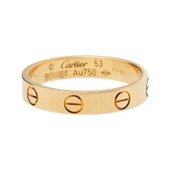 Cartier Love 18K Yellow Gold Wedding Band Ring Size 53
