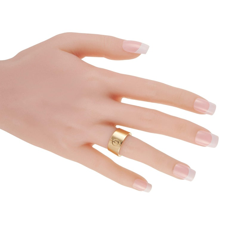 Cartier Love 18k Yellow Gold Wide Band Ring In Excellent Condition For Sale In Southampton, PA