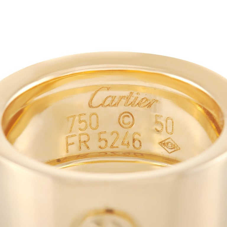 Cartier Love 18k Yellow Gold Wide Band Ring For Sale 1