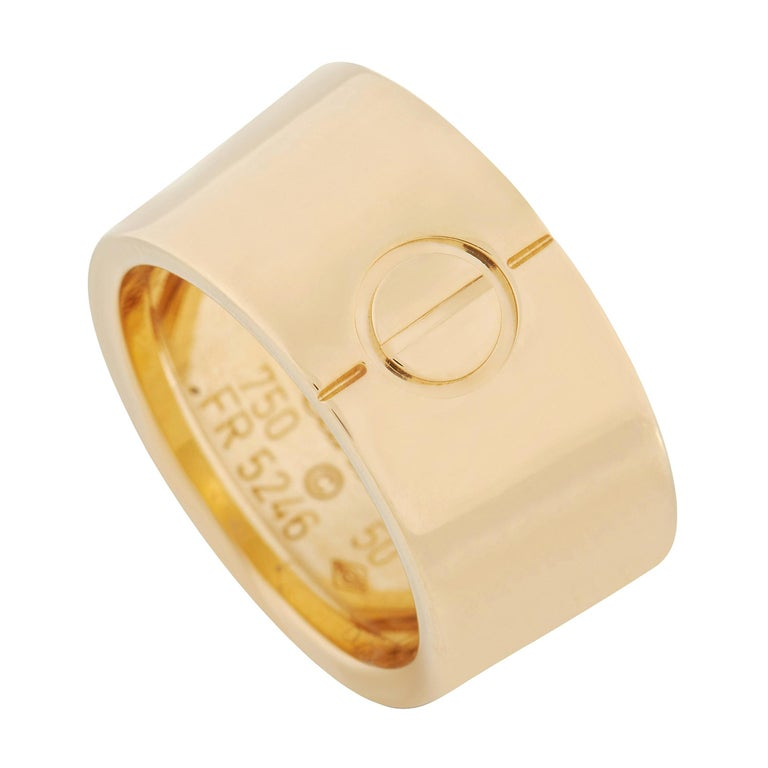 Cartier Love 18k Yellow Gold Wide Band Ring For Sale