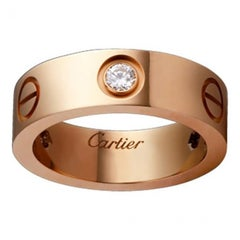 Cartier Love 3 Diamonds Pink Gold Diamonds Ring