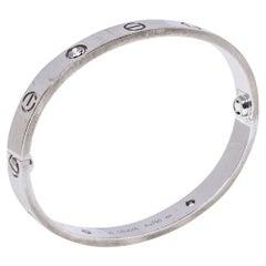 Cartier Love 4 Diamond 18K White Gold Bracelet 16