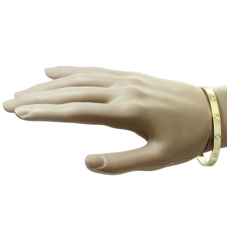 Women's Cartier Love 4 Diamond Yellow Gold Bracelet. Sz.16 For Sale