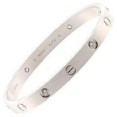 Cartier Love 4 Diamonds Bracelet 18 Karat White Gold and Diamonds