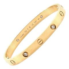 Cartier Love 4 Diamonds Bracelet 18 Karat Yellow Gold with Diamonds